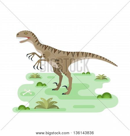 Hungry Utahraptor prehistoric carnivore dinosaur. Agressive spiny lizard. Small location pristine landscape useful for map or game. Extinct animal. Flat vector illustration.