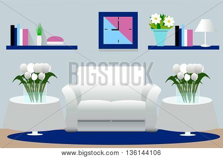 Interior vector illustration. Living room, rest room, furniture for room interior