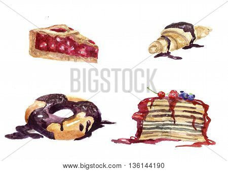 Sweet dessert from the croissant watered with chocolate cake with currant sauce and bilberry shortcrust pie with pieces of juicy cherry and a donut with chocolate.