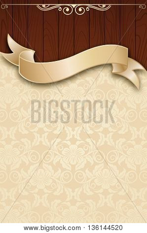 Decorative vintage background with wooden plankselegant ribbon and old-fashioned floral patterns.