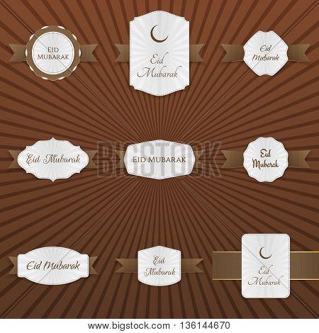 Eid Mubarak decorative Tags Set. Vector Illustration