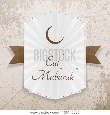Eid Mubarak realistic festive Badge. Vector Illustration