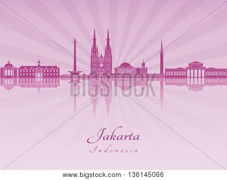 Jakarta skyline in purple radiant orchid in editable vector file