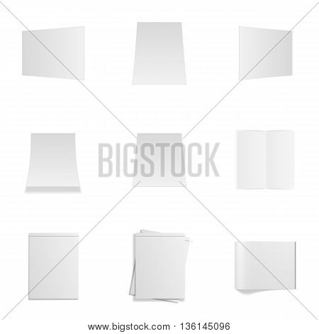 Empty Office Mockups Set isolated on white Background. Magazines, Paper Sheets, Frames and Notepads. Vector Illustration
