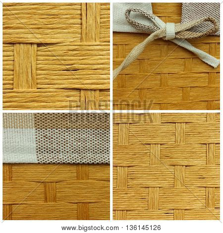 Wicker basket with ribbon - detail of texture