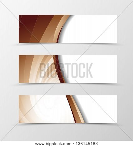Set of banner vortex design. Light banner for header in coffee with milk colors. Design of banner in wavy spectrum style. Vector illustration
