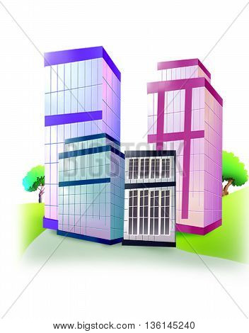 Building /Commercial Buildings isolated in white Background