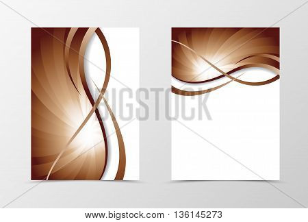 Flyer template vortex design. Abstract flyer template in coffee with milk color with wavy lines. Swirl wave spectrum flyer design. Vector illustration