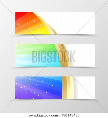 Set of banner rainbow design. Shiny banner for header in rainbow color with gold lines and white stars. Design of banner in wavy spectrum style. Vector illustration