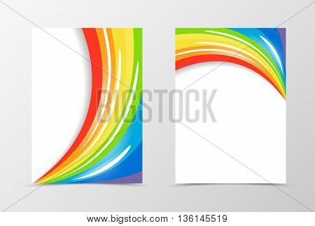 Rainbow flyer template design. Abstract flyer template in rainbow color with white blots. Spectrum flyer design. Vector illustration