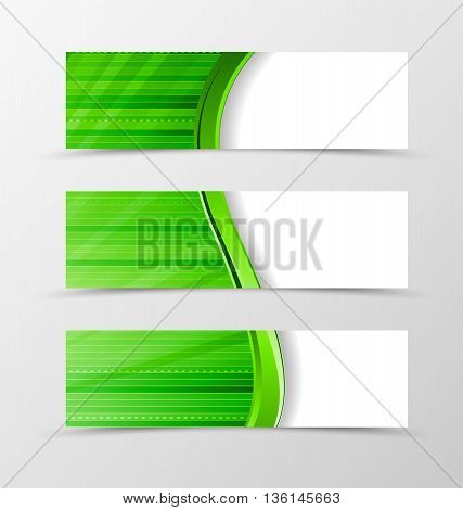 Set of banner wave design. Bright banner for header with green line and digital surface. Design of banner in dynamic spectrum style. Vector illustration