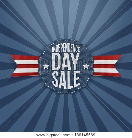 Independence Day Sale vintage Badge. Vector Illustration