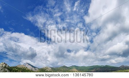 panorama photo bright summer day city Sudak