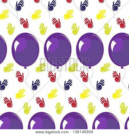 Seamless pattern with baloons and handprint. Vector flat illustration for print warapping papergreeting party.