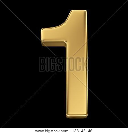 3d rendering, olden shining metallic number collection - one, isolated on black