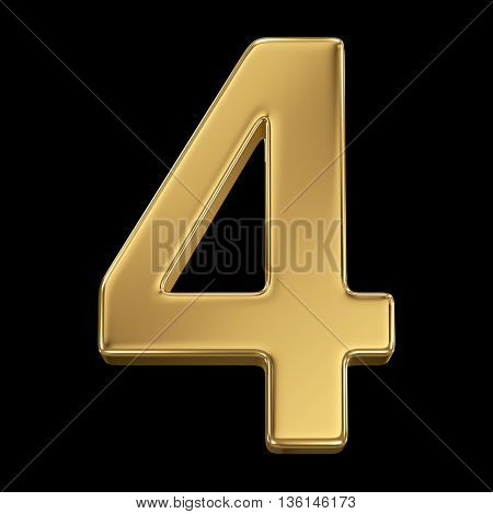 3d rendering, olden shining metallic number collection - four, isolated on black