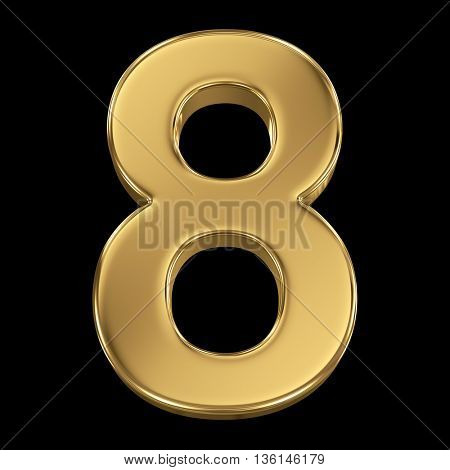 3d rendering, olden shining metallic number collection - eight, isolated on black