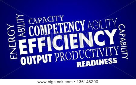 Efficiency Productivty Great Work Process Word Collage Illustration