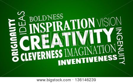 Creativity Imagination Inventive Word Collage Illustration
