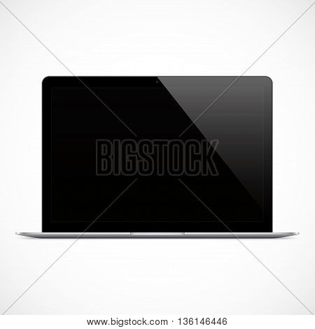 laptop black color with blank touch screen isolated on the grey background. stock vector illustration eps10