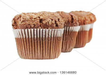 chocolate muffins on white with clipping patch