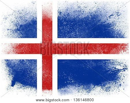 Powder paint exploding in colors of Iceland flag isolated on white background. Abstract particles explosion of colorful dust.