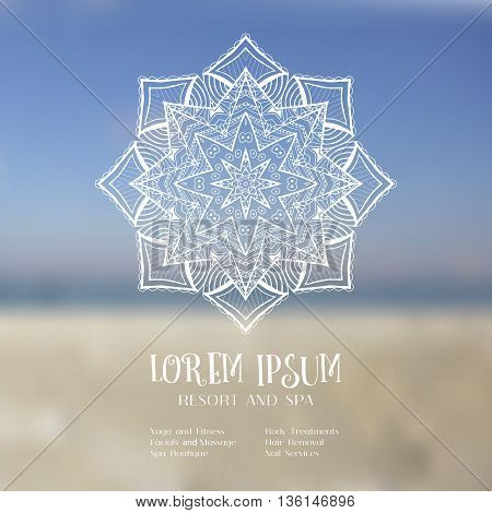 Hand drawn mandala design element on blurred sky. Beautiful floral background for resort and spa with place for text and menu. Abstract backdrop card invitation brochure design. Vector illustration