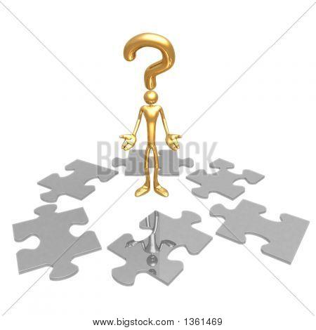 Question Pondering Puzzle Pieces