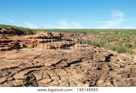 Rugged sandstone terrain with native flora in the scenic Z-bend landscape under a clear blue sky in Kalbarri National Park in Western Australia.