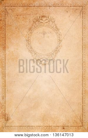 Aging paper background with decorative vintage bordercorners and old-fashioned elegant frame.
