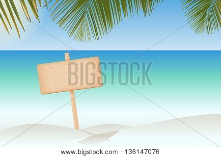 Natural textured wooden rectangular signboard on a pole at the paradise beach vector illustration