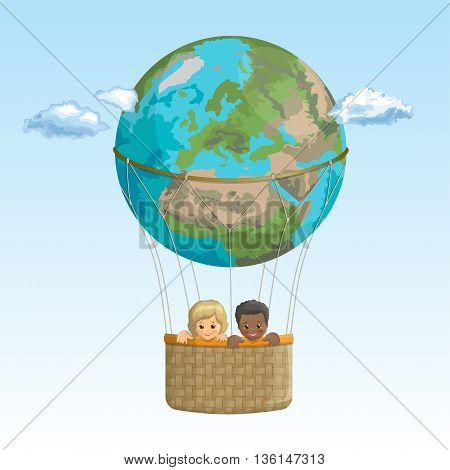Vector banner friends, traveling by hot air balloon. Black boy and a white girl in the basket of the balloon of planet Earth on a background of sky with clouds