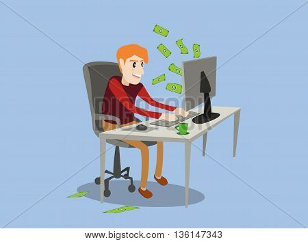 business man using his computer to building online dollars banknote money cash from monitor screen. online business investment concept vector