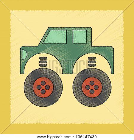 flat shading style icon Kids toy car