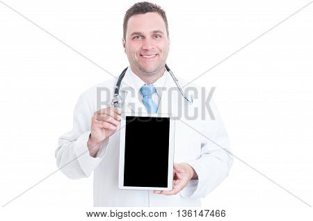 Male Medic Or Doctor Holding Tablet With Black Screen