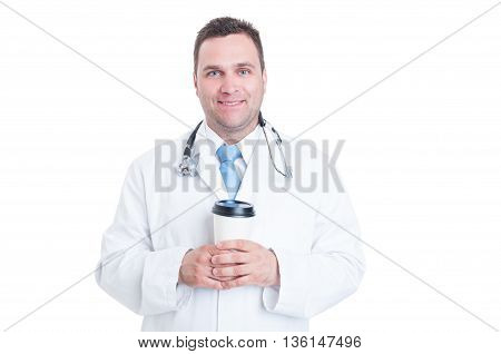Male Doctor Or Medic Holding Cup Of Coffee And Smiling