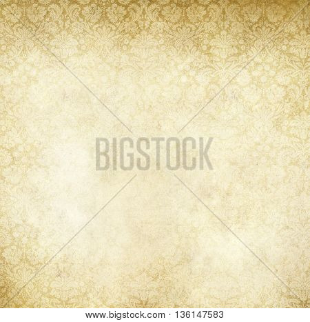 Aged stained paper with decorative old-fashioned patterns. Vintage paper texture for the design.