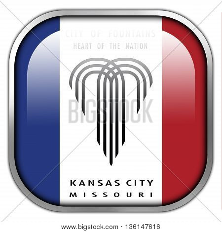 Flag Of Kansas City, Missouri, Square Glossy Button