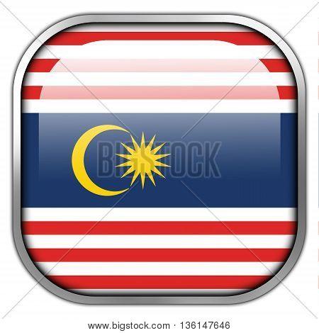 Flag Of Kuala Lumpur, Square Glossy Button