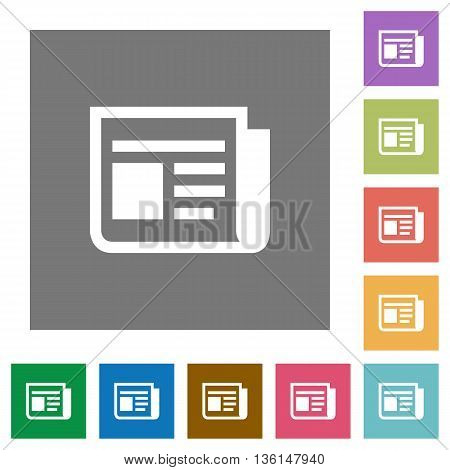News flat icon set on color square background.