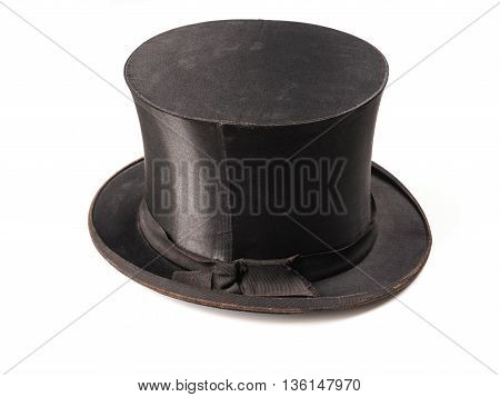 Old used stylish hat on a white background