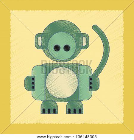 flat shading style icon Kids toy monkey