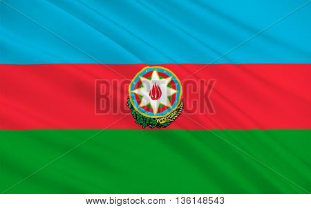 Flag of Azerbaijan officially the Republic of Azerbaijan is a country in the Transcaucasian region situated at the crossroads of Southwest Asia and Southeastern Europe. 3D illustration