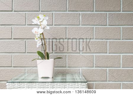 Closeup artificial plant with white orchid flower on pink flower pot on wood weave table on blurred brown brick wall texture background beautiful interior in relaxation concept of house