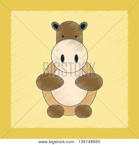 flat shading style icon Kids toy hippo