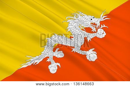 Flag of Bhutan officially the Kingdom of Bhutan is a sovereign state in South Asia. 3d illustration