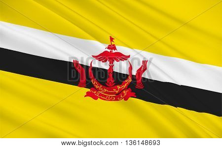 Flag of Brunei officially the Nation of Brunei is a sovereign state located on the north coast of the island of Borneo in Southeast Asia. 3d illustration