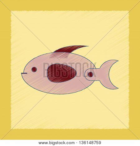 flat shading style icon Kids toy fish