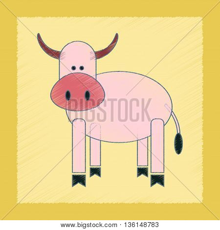 flat shading style icon Kids toy cow