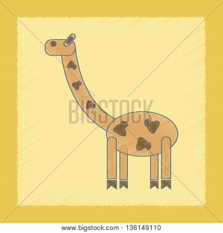 flat shading style icon Kids toy giraffe